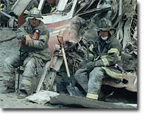 911 Firemen rest during the rescue